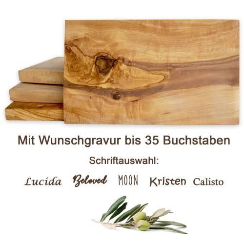 Frühstückbrett aus Olivenholz mit Gravur bis 35 Zeichen – Schneidebrett Servierbrett 25 x 15 cm mit geraden eckigen Kant