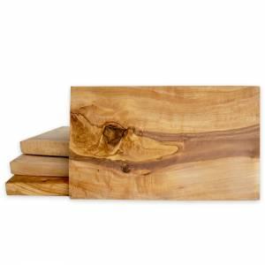 Frühstückbrett aus Olivenholz mit Gravur bis 35 Zeichen – Schneidebrett Servierbrett 25 x 15 cm mit geraden eckigen Kant Bild 2