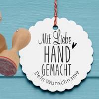 """Personalisierter Stempel """"Mit  Liebe handgemacht"""" DIY Stempel """"Mit  Liebe handgemacht"""" Ø 30/40mm Bild 1"""