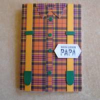 Vatertag ,Vatertagskarte,Glückwunschkarte zum Vatertag ,Vater Papa,Papi,Hosenträger,Gelb,Grün Bild 1