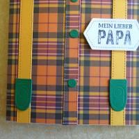 Vatertag ,Vatertagskarte,Glückwunschkarte zum Vatertag ,Vater Papa,Papi,Hosenträger,Gelb,Grün Bild 4