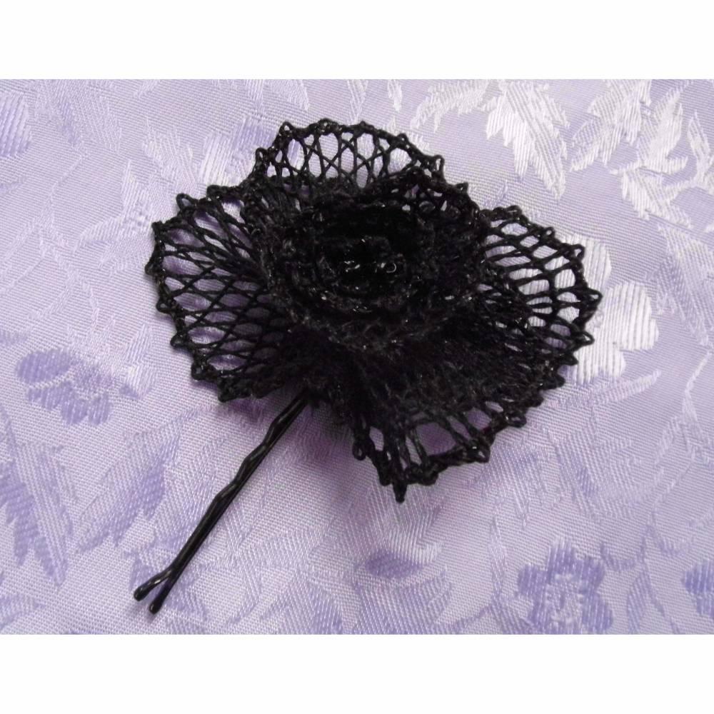 Haarblüte geklöppelt Handarbeit schwarz Gothic Hochzeit Geschenk für sie gift for her Steampunk Haarschmuck Bild 1