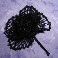 Haarblüte geklöppelt Handarbeit schwarz Gothic Hochzeit Geschenk für sie gift for her Steampunk Haarschmuck Bild 2