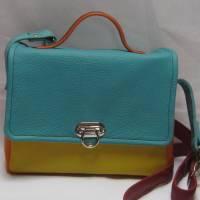 Bunte Ledertasche in 4 Farben mit 2 Hauptfächern, Gute Laune Tasche aus Rindsnappa, Handarbeit Bild 1