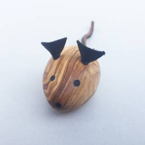 Maus, Spielmaus für Katzen / Kater, Katzenspielzeug Handgefertigt aus Olivenholz und Leder. Bild 4