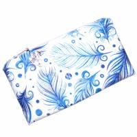 """Täschchen """"Blaue Federn"""" aus Baumwolle mit Reißverschluss - Maskentasche Etui Kosmetiktasche Kulturtasche Bild 2"""