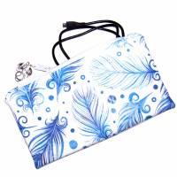 """Täschchen """"Blaue Federn"""" aus Baumwolle mit Reißverschluss - Maskentasche Etui Kosmetiktasche Kulturtasche Bild 4"""
