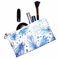 """Täschchen """"Blaue Federn"""" aus Baumwolle mit Reißverschluss - Maskentasche Etui Kosmetiktasche Kulturtasche Bild 5"""