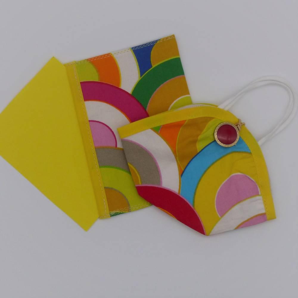 Set aus Impfpasshülle und Maskenetui, Baumwolle bunte Kreise mit gelben Schrägband, Tasche, Hülle, Umschlag Bild 1