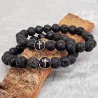 Lava Armband mit einer Kreuzperle aus Edelstahl Bild 1