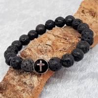 Lava Armband mit einer Kreuzperle aus Edelstahl Bild 3