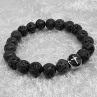 Lava Armband mit einer Kreuzperle aus Edelstahl Bild 5