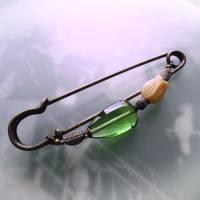 Schalnadel Tulpe - sehr große Bronze Schmucknadel mit böhmischen Glasperlen in Grün und Creme Bild 8