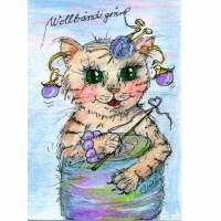 Katze mit Wolle handgemalt Minibild 80 x 110 Millimeter Aquarell laminiert Tier Bild  Bild 1