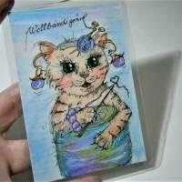 Katze mit Wolle handgemalt Minibild 80 x 110 Millimeter Aquarell laminiert Tier Bild  Bild 2
