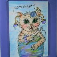 Katze mit Wolle handgemalt Minibild 80 x 110 Millimeter Aquarell laminiert Tier Bild  Bild 3