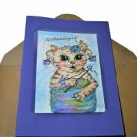 Katze mit Wolle handgemalt Minibild 80 x 110 Millimeter Aquarell laminiert Tier Bild  Bild 5