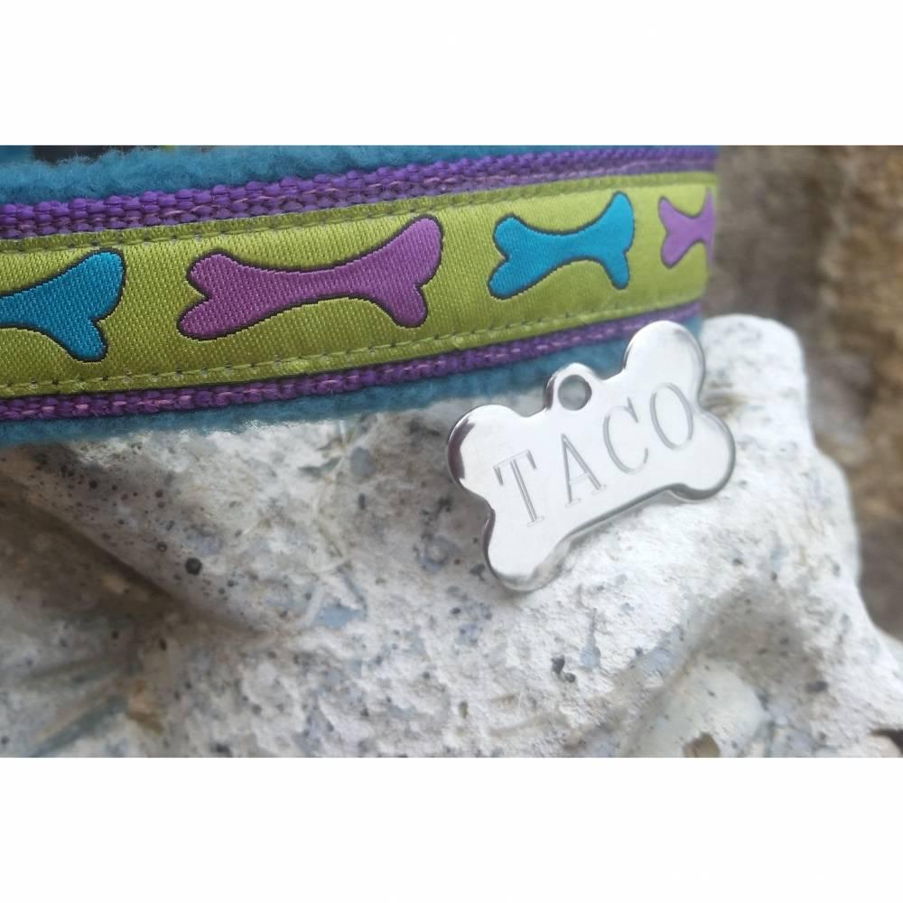 Hundemarke individuell graviert Knochen klein Edelstahl Bild 1