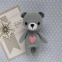 Kuscheltier Häkeltier Teddy Mini grau aus Baumwolle Handarbeit Bild 1