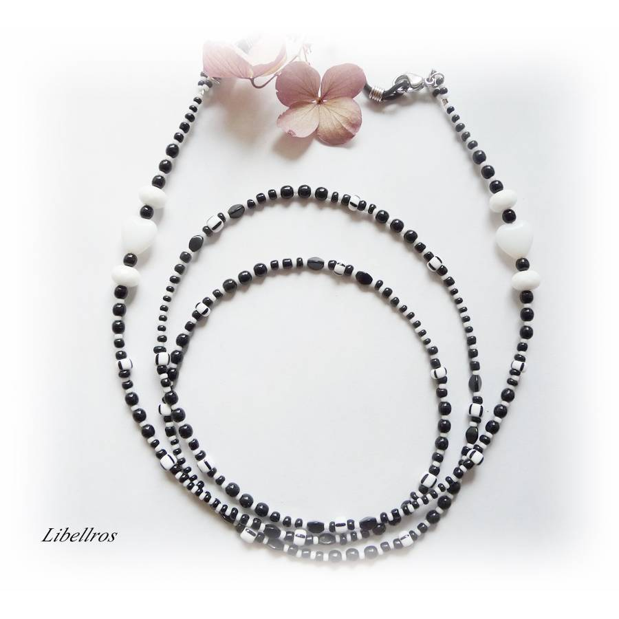 Extralange Brillenkette mit Herzen - Brillenhalter,Maskenkette,XXL,Geschenk,Muttertag,schwarz,weiß Bild 1