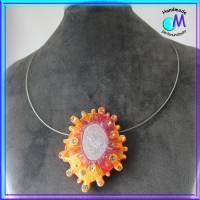Große Galaxy orange Wechsel-schmuck Magnet Zwischenstück  für Ketten  ART 4738 Bild 2