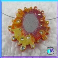 Große Galaxy orange Wechsel-schmuck Magnet Zwischenstück  für Ketten  ART 4738 Bild 3
