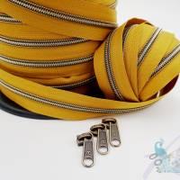 1m endlos Reißverschluss inkl. 3 Zippern - breit metallisiert Senf - altmessing (mit Nahtfaden) Bild 1