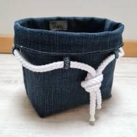 Maritimes Utensilo aus Jeans mit weißer Kordel Bild 1