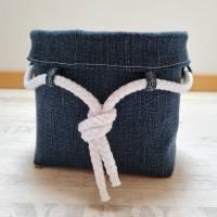Maritimes Utensilo aus Jeans mit weißer Kordel Bild 2