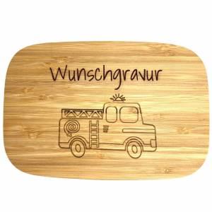 Personalisierte Lunchbox FEUERWEHR POLIZEI BAGGER etc. aus Bambus und Edelstahl - Kinder Brotdose Bild 1