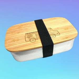 Personalisierte Lunchbox FEUERWEHR POLIZEI BAGGER etc. aus Bambus und Edelstahl - Kinder Brotdose Bild 2