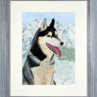 Husky - Original Aquarellmalerei, gerahmtes Unikat Bild 1