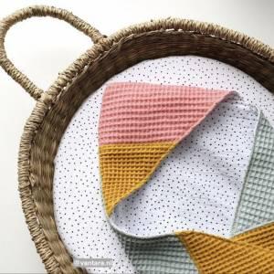 ab 50cm Waffelpiqué - 100% Baumwolle Waffelstoff - Baby Bettwäsche, Lätzchen, Schlafsack, Stirnband Bild 8