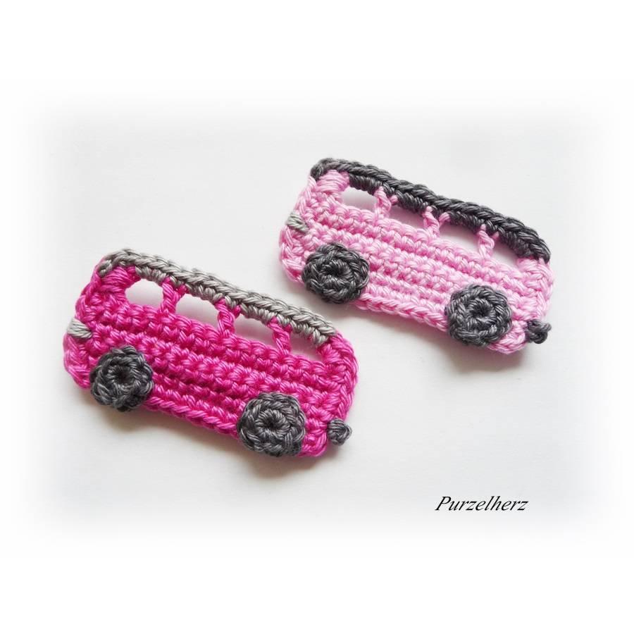 Ein gehäkelter Autobus aus 2 Farbvariationen wählbar - Geschenk,Führerschein,Omnibus,Tischdeko,PURZELflitzer,rosa,pink Bild 1