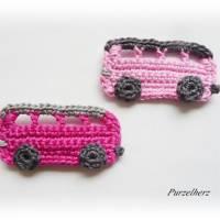 Ein gehäkelter Autobus aus 2 Farbvariationen wählbar - Geschenk,Führerschein,Omnibus,Tischdeko,PURZELflitzer,rosa,pink Bild 2