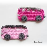 Ein gehäkelter Autobus aus 2 Farbvariationen wählbar - Geschenk,Führerschein,Omnibus,Tischdeko,PURZELflitzer,rosa,pink Bild 3