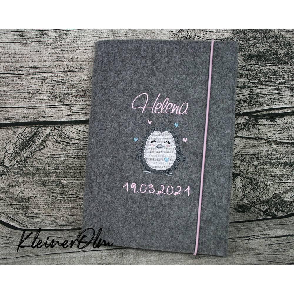 Bestickte Hülle für das Kinderuntersuchungsheft - U-Heft-Hülle Pinguin Bild 1
