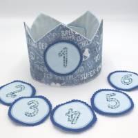 Geburtstagskrone mit wechselbaren Zahlen, blau Superkind, plus Tasche  Bild 1