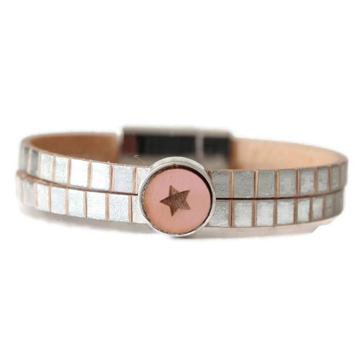 Lederarmband Silver Color auf Natur Leder Schiebeperle Stern rosa Slider Bild 1