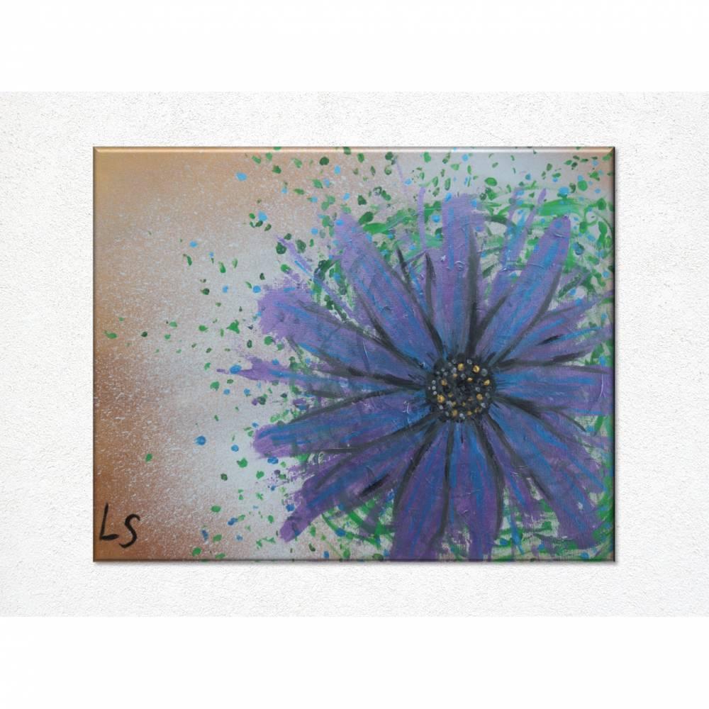 Original Acrylmalerei auf Leinwand Blume abstrakt | 50x40cm | modernes Gemälde gold lila grün | Wandbild Natur&Pflanzen  Bild 1