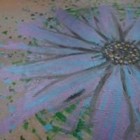 Original Acrylmalerei auf Leinwand Blume abstrakt | 50x40cm | modernes Gemälde gold lila grün | Wandbild Natur&Pflanzen  Bild 3