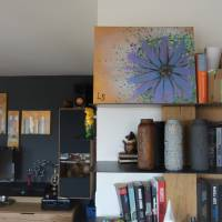 Original Acrylmalerei auf Leinwand Blume abstrakt | 50x40cm | modernes Gemälde gold lila grün | Wandbild Natur&Pflanzen  Bild 5