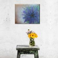 Original Acrylmalerei auf Leinwand Blume abstrakt | 50x40cm | modernes Gemälde gold lila grün | Wandbild Natur&Pflanzen  Bild 6