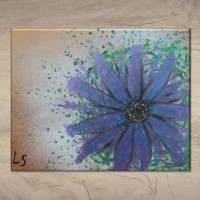 Original Acrylmalerei auf Leinwand Blume abstrakt | 50x40cm | modernes Gemälde gold lila grün | Wandbild Natur&Pflanzen  Bild 7