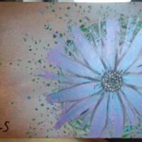 Original Acrylmalerei auf Leinwand Blume abstrakt | 50x40cm | modernes Gemälde gold lila grün | Wandbild Natur&Pflanzen  Bild 8