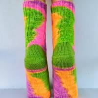 Socken Wollsocken Damensocken handgestrickt Größe 40/41 Bild 5