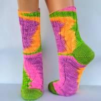 Socken Wollsocken Damensocken handgestrickt Größe 40/41 Bild 7