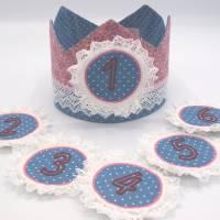 Geburtstagskrone mit wechselbaren Zahlen, altrosa / blau, plus Tasche  Bild 1