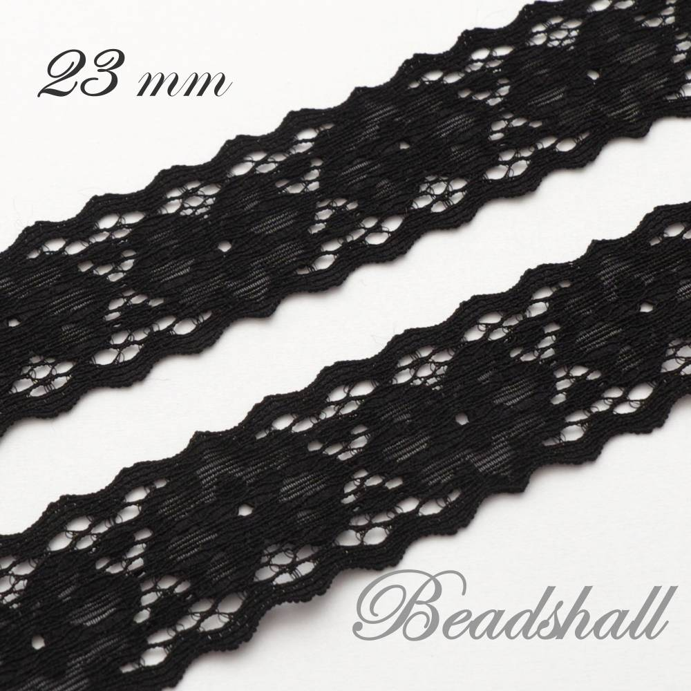 1 Meter elastische Spitzenborte Blumen Farbe Schwarz Bild 1