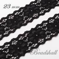 1 Meter elastische Spitzenborte Blumen Farbe Schwarz Bild 2